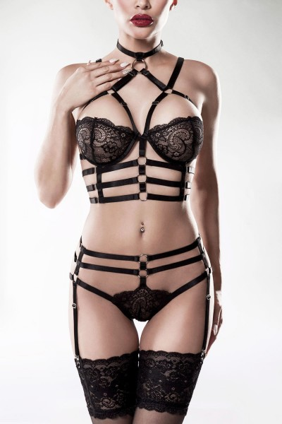 2-teiliges Harness Set von Grey Velvet schwarz