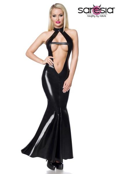 Wetlook-Kleid schwarz