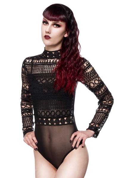 Gothic-Body aus Spitze schwarz