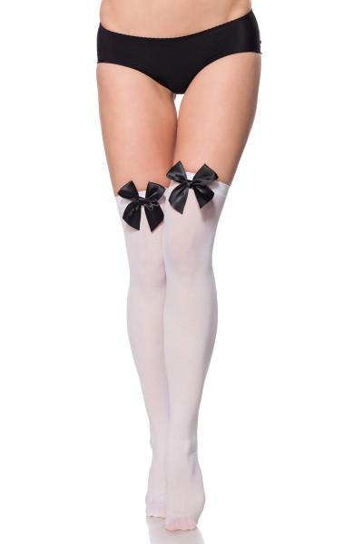 Stockings weiss mit Schleife
