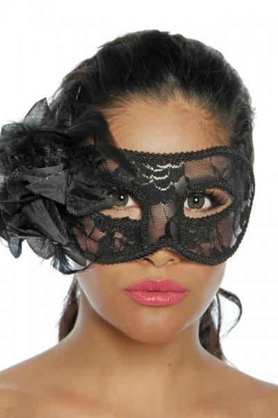 Maske mit Spitze schwarz